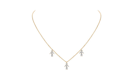 Diamonds and 18 carats gold 3 Boys pendant necklace