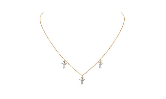 Collier triple Fille or 18K et diamants