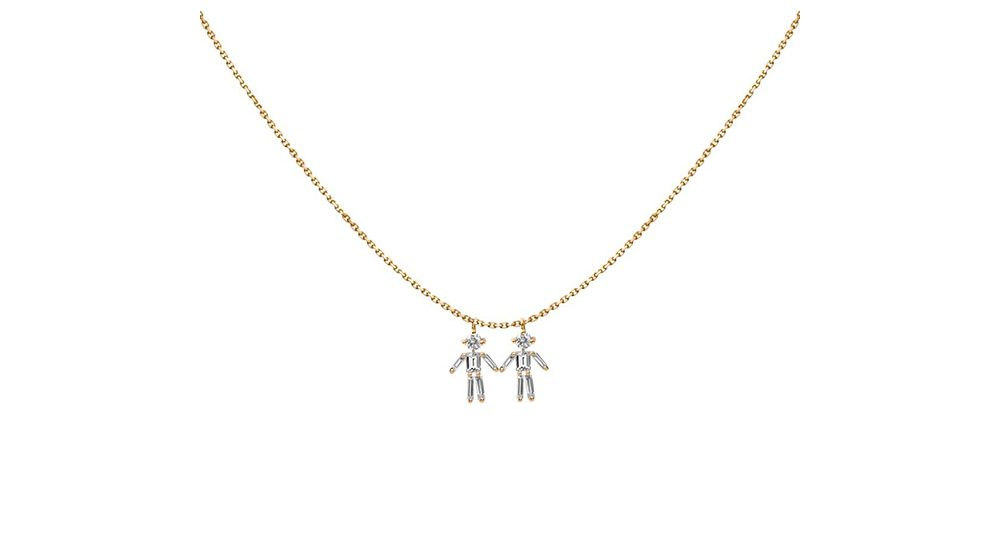 Boy double pendant necklace