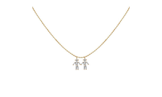 Diamonds and 18 carats gold Boy double pendant necklace