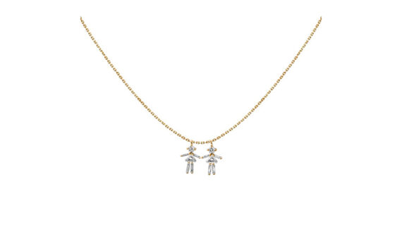 Diamonds and 18 carats gold Girl double pendant necklace