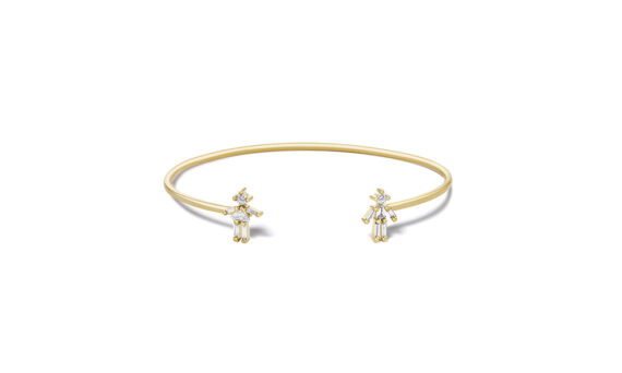 Diamonds and 18 carats gold Girl and Boy Double bangle