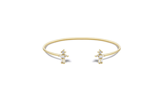 Little Ones Paris Jonc double fille or jaune 18ct diamant