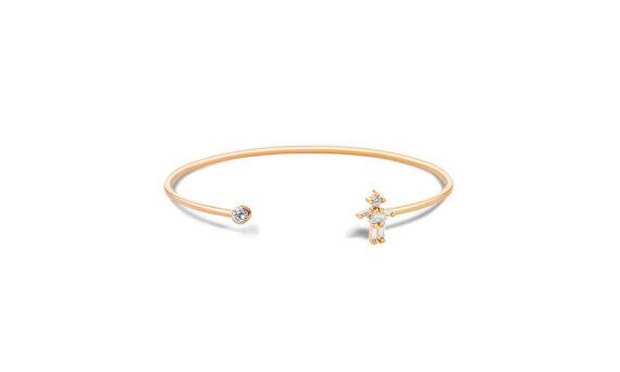 Little Ones Paris Jonc simple Fille or rose 18ct diamant