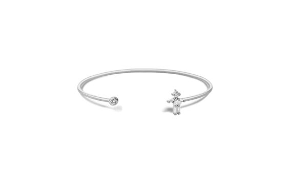 Little Ones Paris Jonc simple fille or blanc 18ct diamant