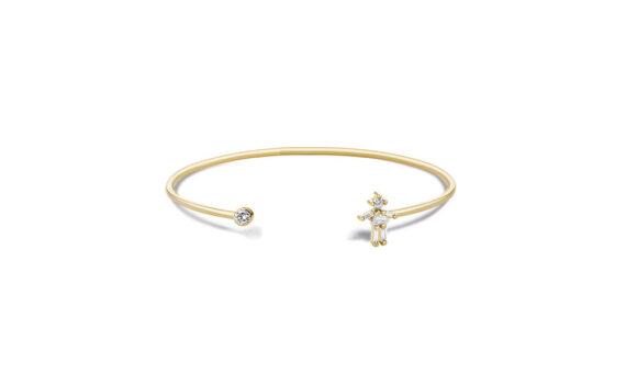 Diamonds and 18 carats gold Girl Single bangle