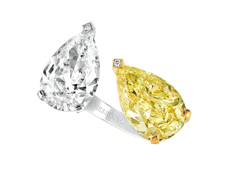 Yellow and White diamond Toi et Moi high ring