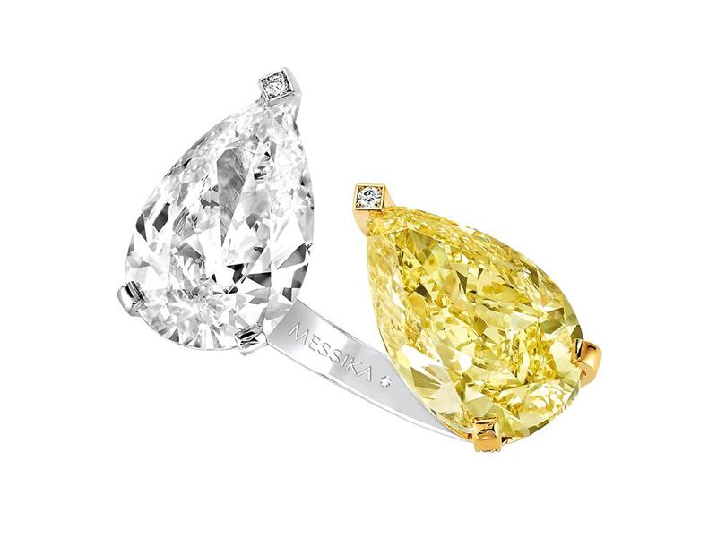 Yellow and White diamond Toi et Moi high ring