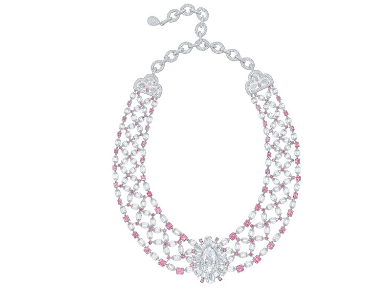 Nirav Modi Golconda Lotus necklace 34 pink diamonds