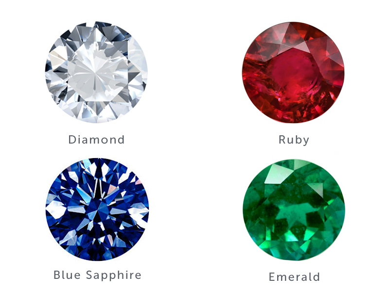 Precious stones chart with diamond ruby blue sapphire and emerald