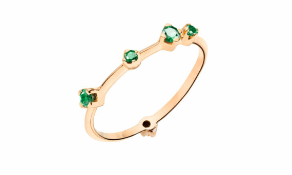Rivka Nahmias Emerald boheme ring mounted on rose gold