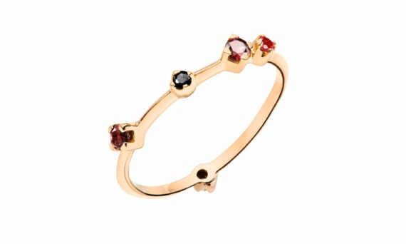 Rivka Nahmias Tutti Frutti rouge noir boheme ring rose gold