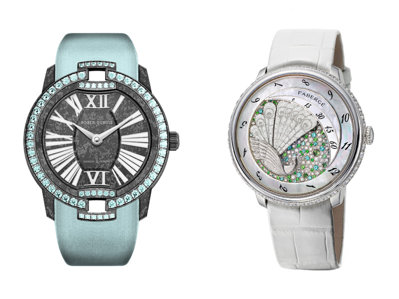 Roger Dubuis Velvet Watch and Fabergé Lady Peacock 2 Watches with Paraiba Tourmaline and diamonds