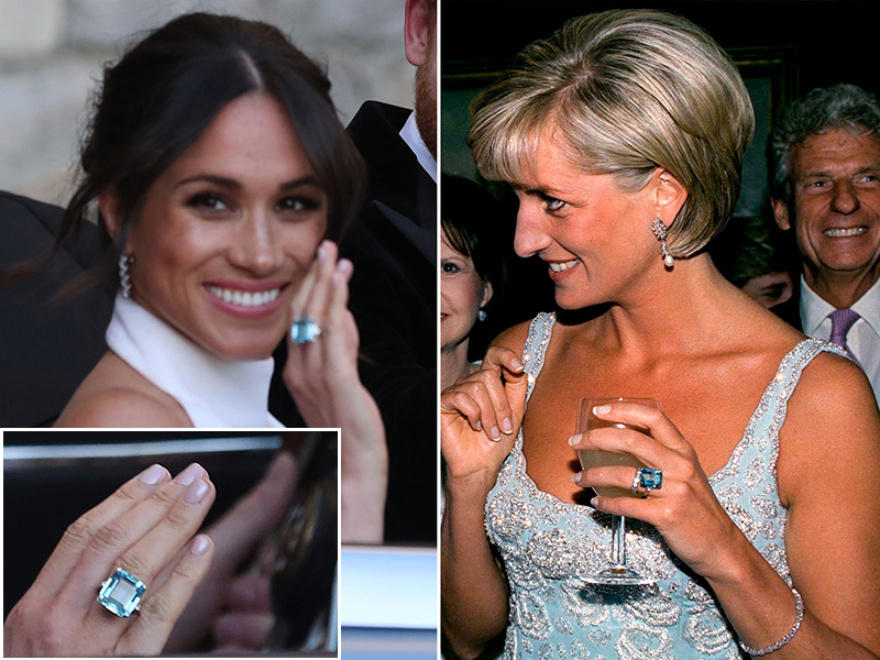 Royal Wedding Meghan Markel Princess Diana emerald-cut acquamarine ring