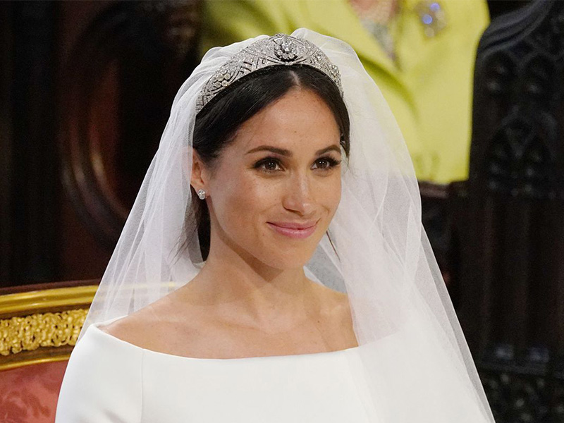Royal Wedding Meghan Markel wearing a wedding tiara from the royal vault set with diamond