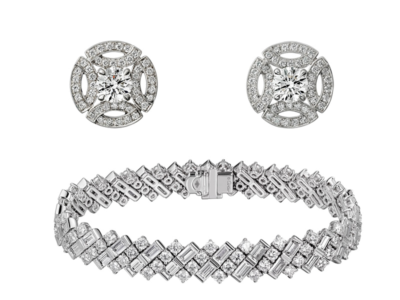 Royal Wedding Cartier Bracelet set with lines of baguette-cut and brilliant-cut diamonds by cartier and Royal Wedding Cartier Earrings from the Galenterie de Cartier collectionset with diamonds