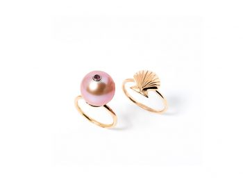 Pearl in a shell rings