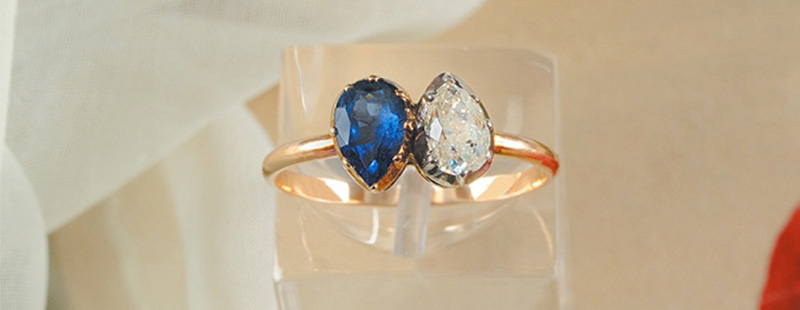 Toi et Moi Ring made in gold with diamond and blue sapphire Napoleon Bonaparte offered to his first wife, Josephine de Beauharnais