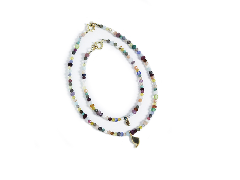 Two Tutti Frutti Youd bracelets by Rivka Nahmias is made on yellow gold and set with sapphires, rubies, aquamarine, tanzanites, opals, moon stones, sunstones, pyrites, turquoises, tourmalines and amethysts