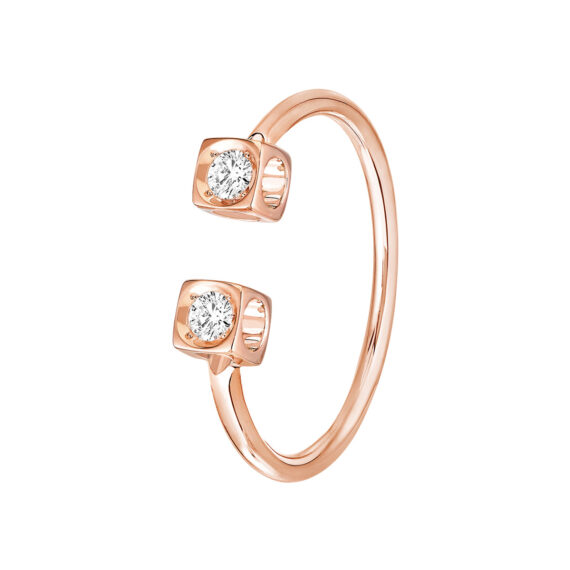 Dinh Van Le Cube Diamond ring mounted on rose gold