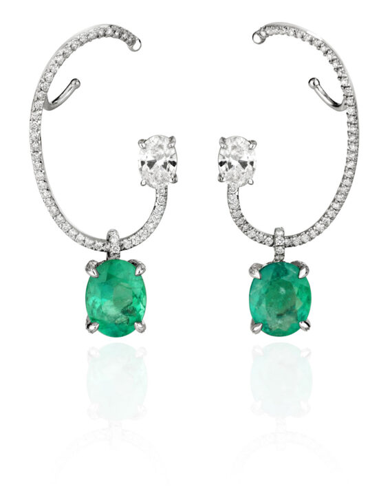 Ana Khouri Ethereal earrings mounted on 18k fairmined gold with emeralds and diamonds