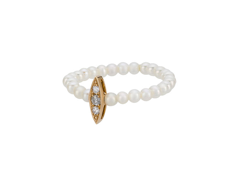 Anissa Kermiche Perle Rare Mini Pearl ring mounted on yellow gold with white pearls and grey diamonds