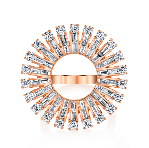 Anita Ko Ava ring mounted on rose gold with 1.5cts round diamonds and 1.22cts baguette diamonds