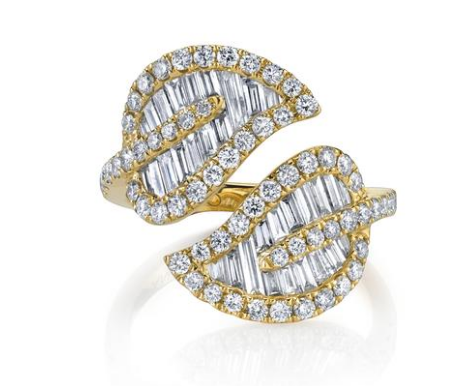 Anita Ko Large leaf ring mounted on yellow gold with .82cts diamonds and .79cts baguette diamonds