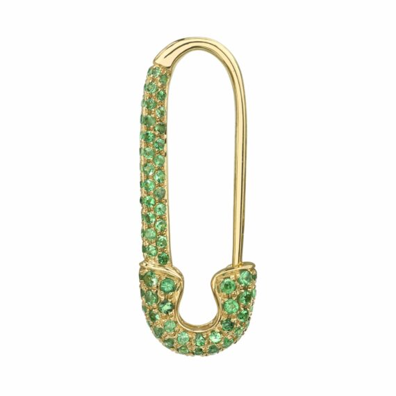 Anita Ko Tsavorite safety pin earring mounted on yellow gold with .46cts tsavorite