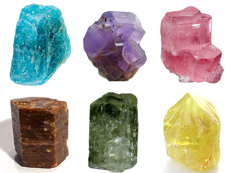 Blue, purple, pink, brown, green and yellow apatites.