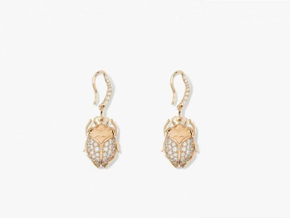 Aurelie Bidermann Diamond Scarab drop earring mounted in 18K yellow gold with 36 diamonds