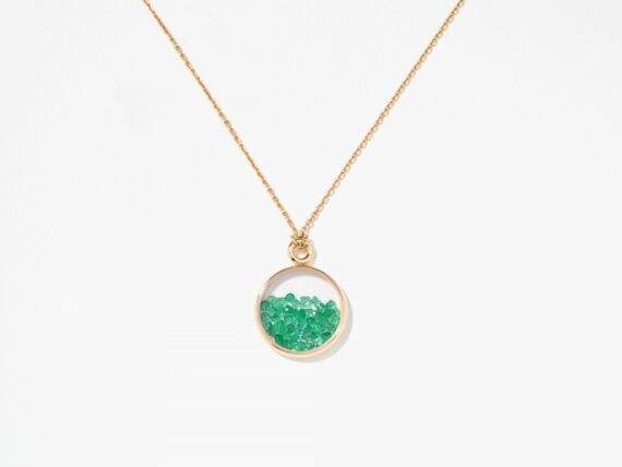 Aurelie Bidermann Emeralds baby chivor necklace mounted on 18k yellow gold