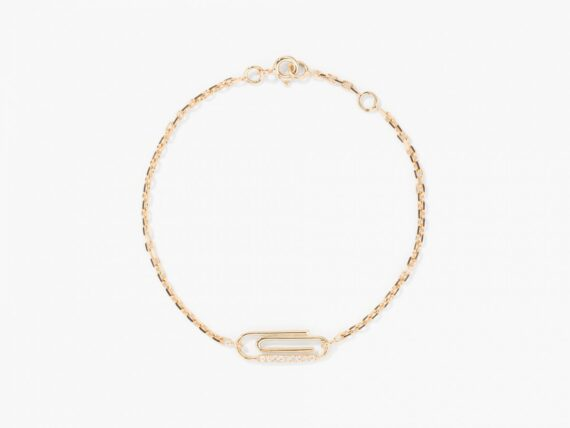 Aurelie Bidermann Paper clip diamonds bracelet mounted on 18k yellow gold