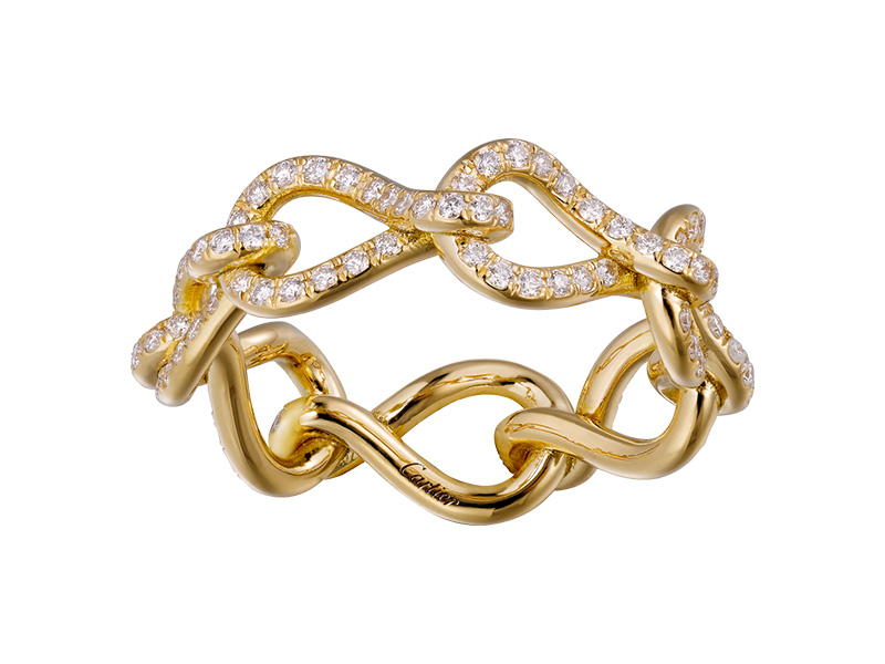 Cartier - Maillon Infini Ring mounted on yellow gold with white diamonds