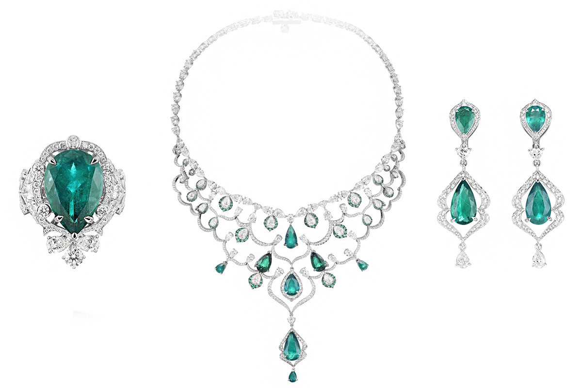 Chopard high Jewelry Necklace, earrings and ring with diamonds and emerald