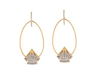 Couture yellow and white gold filigree earrings