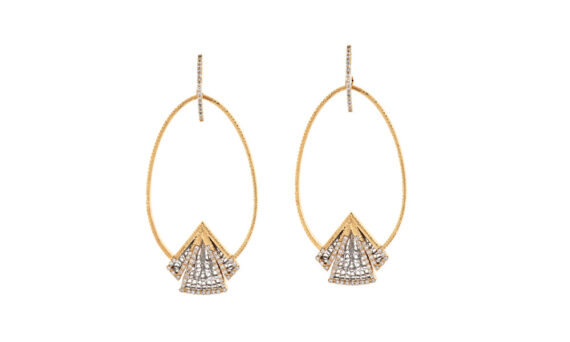 Eleuterio Couture yellow and white gold filigree earrings