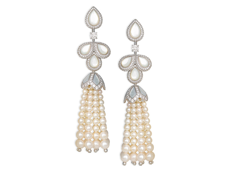 David Morris Akoya pearl and Mother of pearl Tassel earrings with white diamond