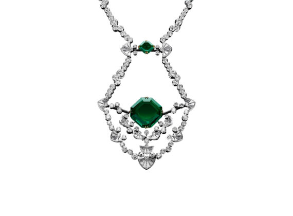 alexandre reza dentelle necklace white gold yellow gold black gold emerald