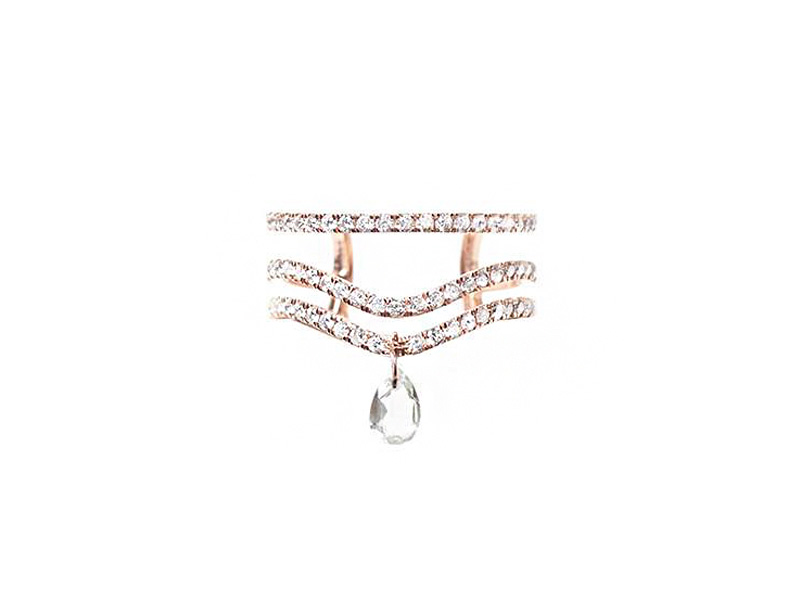 Diane Kordas Green Prasiolite Curved Tiple Band ring mounted on rose gold with white diamonds