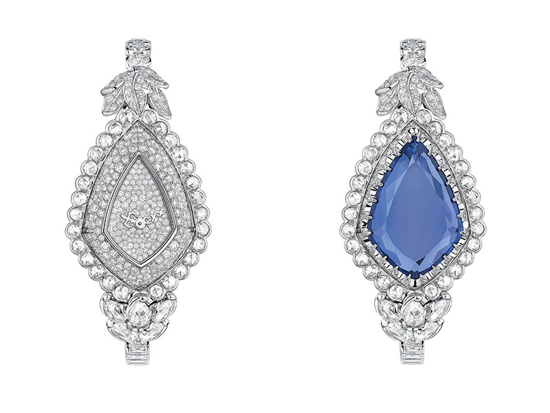 "Dior Versailles Pieces Secretes Collection ""Cachette Tanzanite"" high jewelry timepiece mounted on white gold with diamonds and tanzanite"