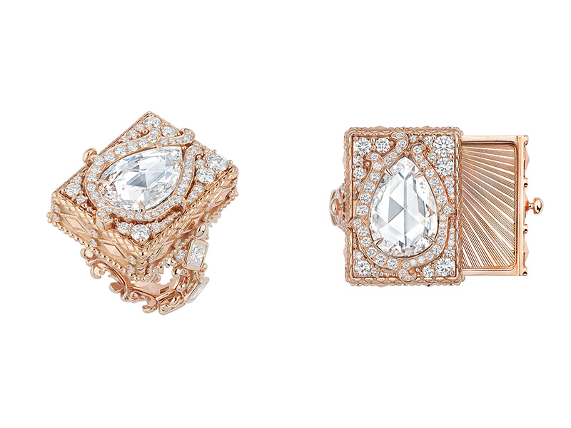 "Dior Versaille Pieces Secretes Collection ""Cachette Tiroir Diamant"" ring mounted on rose gold with diamonds"