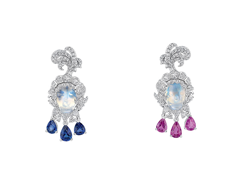 "Dior Versailles Pieces Secretes Collection ""Vanité Pierre de lune"" earrings in white gold set with diamonds, moonstones, sapphires and pink sapphires"