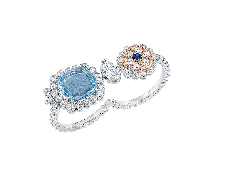 "Dior Versailles Pieces Secretes ""Volupté Aigue-Marine"" double ring mounted on white and pink gold set with diamonds, aquamarine and sapphire"