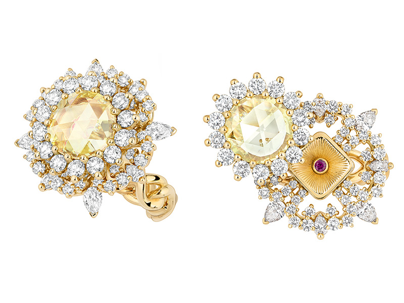 "Dior à Versaille ""Volupté Diamant Jaune"" ring mounted on yellow gold set with white and yellow diamonds and ruby"