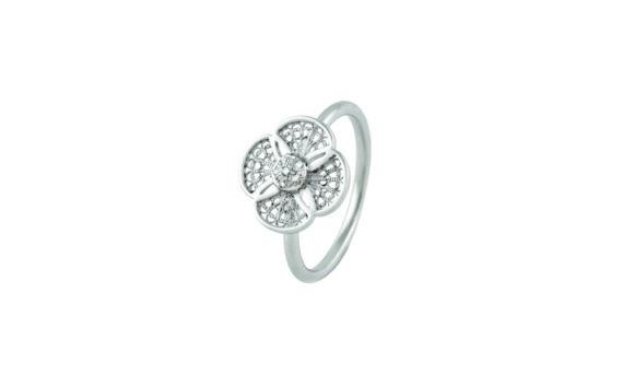 Eleuterio Blossom gold filigree 6 diamonds ring white gold