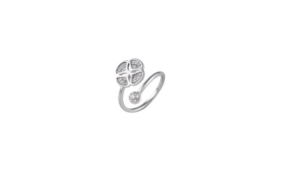 Eleuterio Blossom gold filigree open ring white gold