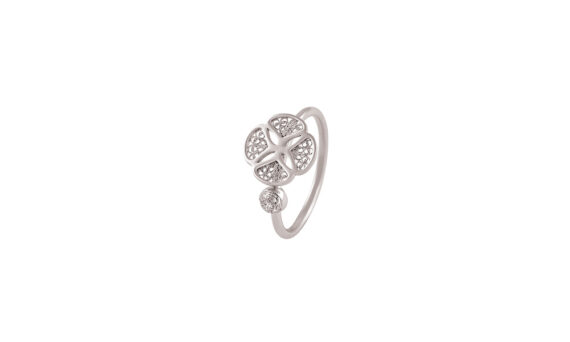 Eleuterio Blossom gold filigree ring white gold