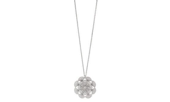 Eleuterio Blossom large filigree necklace white gold