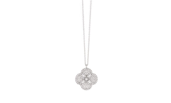 Eleuterio Blossom small filigree diamond necklace white gold
